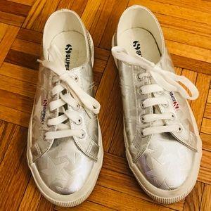 Superga Silver Shiny Star Sneakers, EUR 38